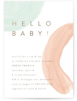 This is a colorful foil stamped baby shower invitation by Pixel and Hank called Hello Baby Shapes with foil-pressed printing on signature in standard.