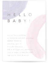 This is a purple foil stamped baby shower invitation by Pixel and Hank called Hello Baby Shapes with foil-pressed printing on signature in standard.
