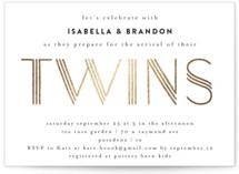 This is a white foil stamped baby shower invitation by Iveta Angelova called Modern Twins with foil-pressed printing on signature in standard.