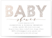 This is a white foil stamped baby shower invitation by Anastasia Makarova called big floral letters with foil-pressed printing on signature in standard.
