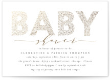 This is a grey foil stamped baby shower invitation by Anastasia Makarova called big floral letters with foil-pressed printing on signature in standard.