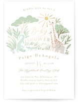 This is a green foil stamped baby shower invitation by Jennifer Wick called Jungle shower with foil-pressed printing on signature in standard.