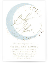 This is a blue foil stamped baby shower invitation by Everett Paper Goods called Simple Moon with foil-pressed printing on signature in standard.
