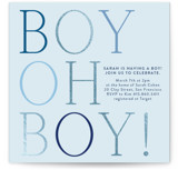 This is a blue foil stamped baby shower invitation by Annie Shapiro called boy oh boy! with foil-pressed printing on signature in standard.