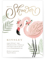This is a green foil stamped baby shower invitation by Kristen Smith called Birds of a Feather with foil-pressed printing on signature in standard.