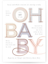 This is a beige foil stamped baby shower invitation by Creo Study called Joyful swirls with foil-pressed printing on signature in standard.