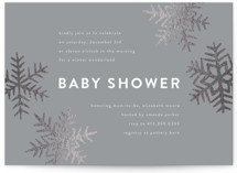This is a grey foil stamped baby shower invitation by Jessie Steury called Snowflakes with foil-pressed printing on signature in standard.