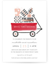 This is a pink foil stamped baby shower invitation by JeAnna Casper called Drive-Thru Red Wagon with foil-pressed printing on signature in standard.