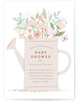 This is a pink foil stamped baby shower invitation by Karidy Walker called Walk By Shower with foil-pressed printing on signature in standard.