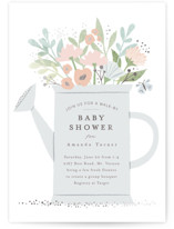 This is a grey foil stamped baby shower invitation by Karidy Walker called Walk By Shower with foil-pressed printing on signature in standard.