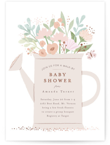 Walk By Shower Foil-Pressed Baby Shower Invitations