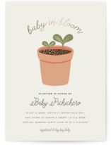 This is a beige foil stamped baby shower invitation by Little Sister Studio called Planting for Baby with foil-pressed printing on signature in standard.