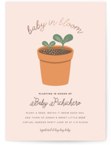 This is a pink foil stamped baby shower invitation by Little Sister Studio called Planting for Baby with foil-pressed printing on signature in standard.