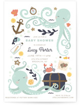 This is a green foil stamped baby shower invitation by peetie design called little treasure with foil-pressed printing on signature in standard.