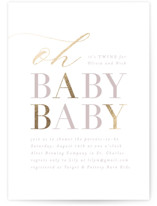 This is a pink foil stamped baby shower invitation by Angela Marzuki called times two with foil-pressed printing on signature in standard.