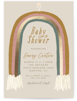 This is a beige foil stamped baby shower invitation by Joanna Griffin called Rainbow Child with foil-pressed printing on signature in standard.