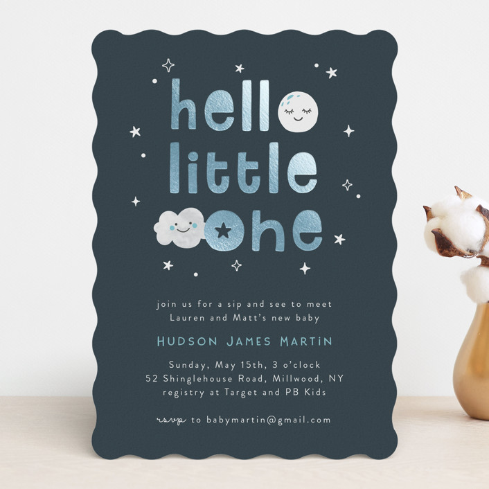 """""""Hello Little One"""" - Whimsical & Funny Foil-pressed Baby Shower Invitations in Midnight by Annie Holmquist."""