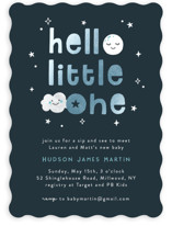 This is a blue foil stamped baby shower invitation by Annie Holmquist called Hello Little One with foil-pressed printing on signature in standard.