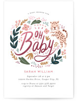 This is a green foil stamped baby shower invitation by iamtanya called Joyful Jungle with foil-pressed printing on signature in standard.
