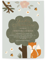 This is a green foil stamped baby shower invitation by Juliana Zimmermann called Woodland with foil-pressed printing on signature in standard.