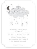 This is a grey foil stamped baby shower invitation by Marina Onoprienko called Moon Baby with foil-pressed printing on signature in standard.