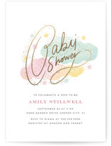 This is a colorful foil stamped baby shower invitation by iamtanya called Clouds and Stars with foil-pressed printing on signature in standard.