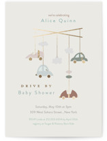 This is a grey foil stamped baby shower invitation by Tina Lee called Automobile baby shower with foil-pressed printing on signature in standard.