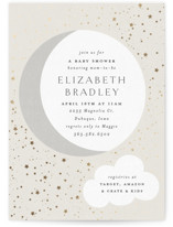 This is a grey foil stamped baby shower invitation by Carolyn Nicks called Shining Star with foil-pressed printing on signature in standard.