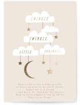This is a yellow foil stamped baby shower invitation by Angela Thompson called Twinkle Sprinkle with foil-pressed printing on signature in standard.