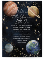 This is a blue foil stamped baby shower invitation by Elly called The Universe with foil-pressed printing on signature in standard.