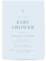 This is a blue foil stamped baby shower invitation by Jd Ptlo called moon & stars with foil-pressed printing on signature in standard.