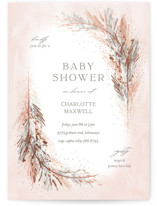 This is a brown foil stamped baby shower invitation by Pixel and Hank called Pompas with foil-pressed printing on signature in standard.