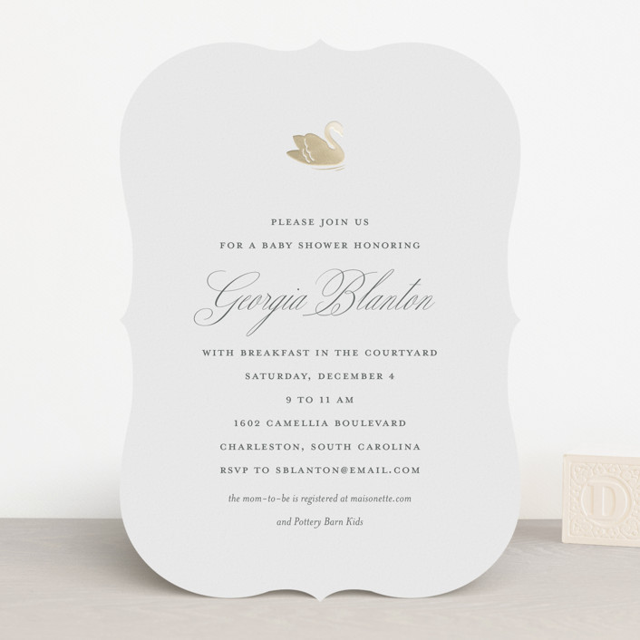 """""""Swan Shower"""" - Foil-pressed Baby Shower Invitations in Charcoal by Toast & Laurel."""