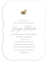 This is a black foil stamped baby shower invitation by Toast & Laurel called Swan Shower with foil-pressed printing on signature in standard.