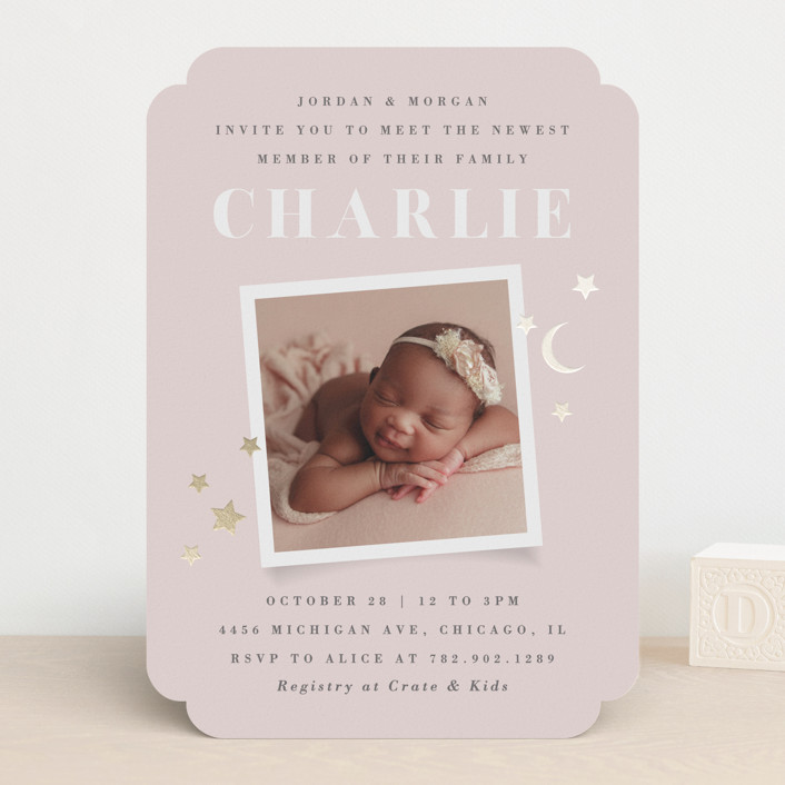 """""""Stars & Moon"""" - Foil-pressed Baby Shower Invitations in Petal by Snow and Ivy."""