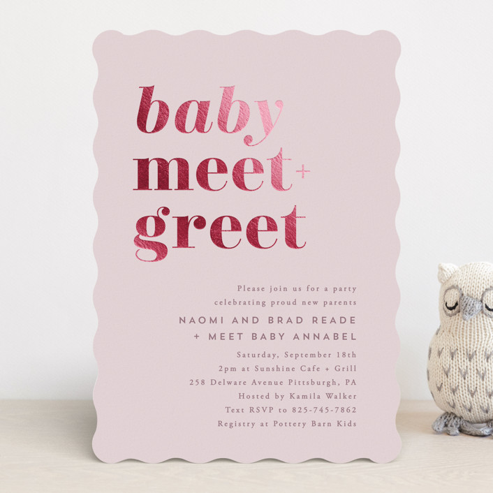 """""""Meet + Greet"""" - Modern Foil-pressed Baby Shower Invitations in Blush by Hooray Creative."""