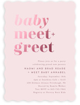 This is a pink foil stamped baby shower invitation by Hooray Creative called Meet + Greet with foil-pressed printing on signature in standard.
