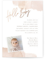 This is a pink foil stamped baby shower invitation by Hooray Creative called Splash of Watercolor with foil-pressed printing on signature in standard.