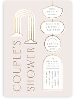 This is a beige foil stamped baby shower invitation by Hooray Creative called Wall Hanging with foil-pressed printing on signature in standard.