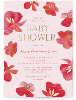 This is a pink foil stamped baby shower invitation by Olivia Raufman called Pretty Petals with foil-pressed printing on signature in standard.