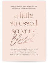 This is a pink foil stamped baby shower invitation by Jennifer Lew called suddenly with foil-pressed printing on signature in standard.