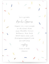 This is a blue foil stamped baby shower invitation by Jackie Mangiolino called Sprinkles with foil-pressed printing on signature in standard.