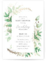 This is a green foil stamped baby shower invitation by Corie Page called Sprigs with foil-pressed printing on signature in standard.