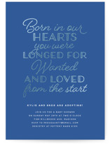 This is a blue foil stamped baby shower invitation by Inkblot Design called Born in Our Hearts with foil-pressed printing on signature in standard.