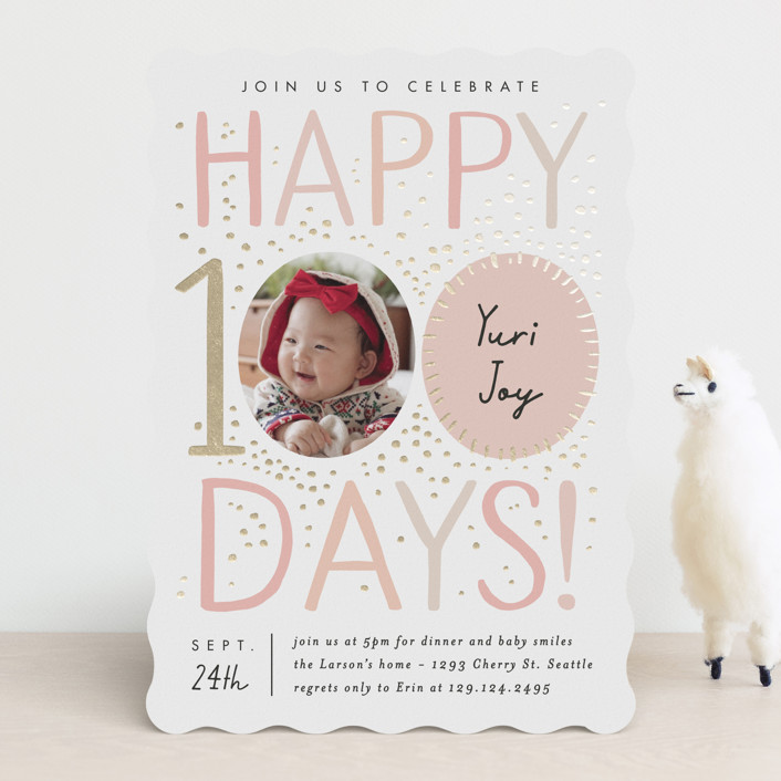 """""""100 days"""" - Foil-pressed Baby Shower Invitations in Blush by Alethea and Ruth."""