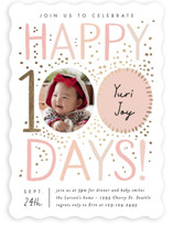 This is a pink foil stamped baby shower invitation by Alethea and Ruth called 100 days with foil-pressed printing on signature in standard.