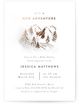 This is a green foil stamped baby shower invitation by Rebecca Durflinger called Baby Adventure with foil-pressed printing on signature in standard.