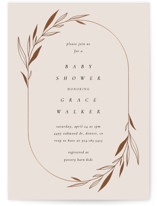 This is a beige foil stamped baby shower invitation by Kelly Schmidt called Modern Oval with foil-pressed printing on signature in standard.