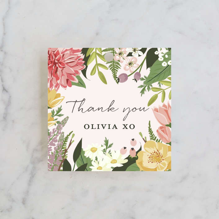 """""""Flowers & Greens"""" - Bridal Shower Favor Tags in Blush by Susan Moyal."""