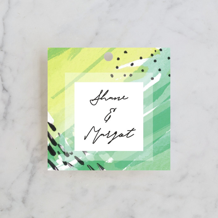 """""""Bright Celebration"""" - Bohemian Bridal Shower Favor Tags in Grass by Simona Camp."""